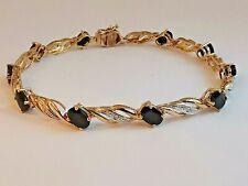 9ct 375 yellow GOLD SAPPHIRE DIAMOND BRACELET twilight blue & sparkly gemstones