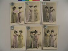 (6) Les Dentelles D'Argent SIP 955 French Lace Color Tinted Postcards Lady cdii