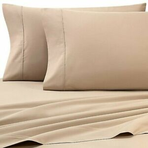 Heartland HomeGrown 325-Thread-Count Cotton Percale Queen Flat Sheet in Taupe