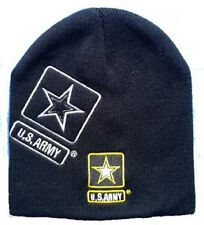 "8"" U.S. Army Star Shadow Military Black Embroidered Beanie Skull Cap Hat 601T"