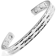 MAGNETIC BRACELET bangle 6 MAGNETS silver carpal tunnel arthritis pain relief