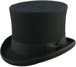 """Quality Hand Made Black 6"""" High Top Hat Topper Hat Wedding Hat 6 Sizes"""