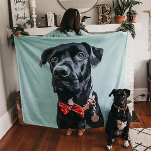 Large Warm Sofa Bed Personalize Photo Flannel Fleece Blanket Throw Baby Pet Gift