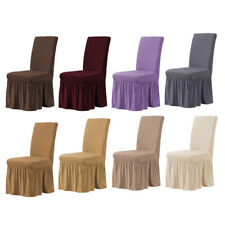 Stretch Dining Chair Covers Slipcover with Long Skirt for Wedding Banquet Party