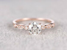 Ring 14k Rose Gold Over Silver 0.75cts Round Moissanite Art Deco Engagement