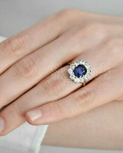 0.60ct Natural Round Diamond 14k Solid White Gold Sapphire Cluster Ring Size 7