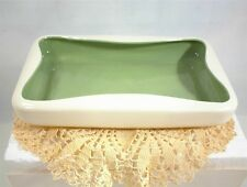 RED WING POTTERY WHITE GREEN CONSOLE BOWL TRAY PINCHED VINTAGE USA 1348 redwing