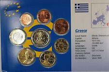 Greece Euro 8 Coin Uncirculated Set Mixed Dates 1999-2002