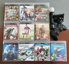 10 PS3 GAMES WITH CONTROLLER AND PLAYSTATION MOVE CONTROLLER AND CAMERA