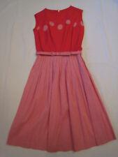 Vintage 1950's Cotton Flower Print Gingham Dress NOS Unworn
