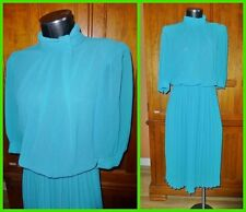 Vtg 70s Sheer Amy Deb Turquoise DRESS Boho Secretary Accordion pleat Skirt