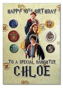 Personalised Harry Potter Birthday Card with Licensed Badge Pack Gift Hogwarts