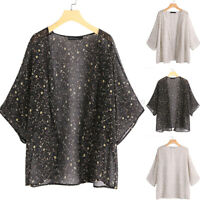 UK Womens Holiday Batwing Sleeve Ladies Summer Beach Tops Blouse Coats Cardigan