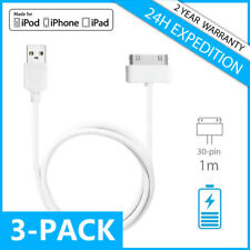 3IN1 30-PIN CHARGEUR CHARGER CHARGING DATA CABLE 1M IPHONE 3G 3GS 4 4S IPAD IPOD
