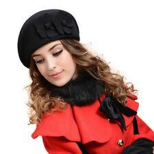 Women 100% Wool Warm French Beret Beanie Felt Pillbox Solid Hat Ski Cap HOT SALE