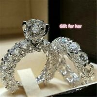 Elegant Women Zircon Ring Jewelry Silver Color Engagement Wedding Ring Set NEW