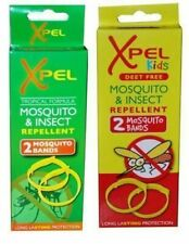 XPEL ANTI-MOSQUITO WRIST BAND INSECT BUG REPELLENT BRACELETS TWIN PACK UK SELLER