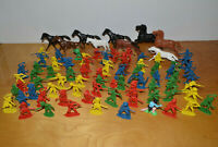 "Vintage PLASTIC COWBOYS & INDIANS HORSES FIGURES Lot of 74 2"" Western Toys 1990s"