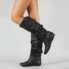 New Womens Mid Calf Under Knee Flat Boots Leather Extra Wide Slip On  Shoes