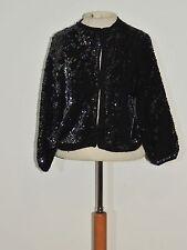 1950's Iridescent Black Sequin Cardigan Sweater S / M