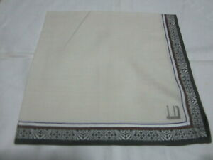 """USED WHITE WITH GRAY SOLID COTTON 18"""" HANDKERCHIEF POCKET SQUARE FOR MEN TYPE5"""