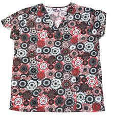Womens Fashion Medical Nursing Scrub Tops Printed Multi Dots M