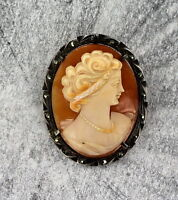 VINTAGE ANTIQUE  HAND CARVED SHELL CAMEO   PENDANT PIN  STERLING SILVER