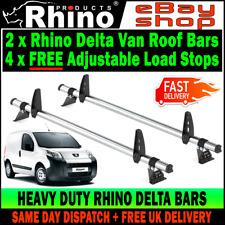 2 x Rhino Delta Bars Van Roof Rack Ladder Rails System Peugeot Bipper 2008-2018