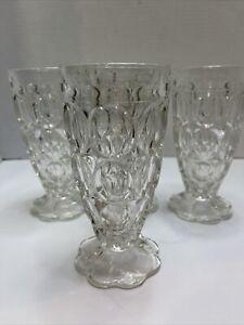 Vintage Sundae Ice Cream Soda Milkshake Glasses Thumbprint Design Set of 4