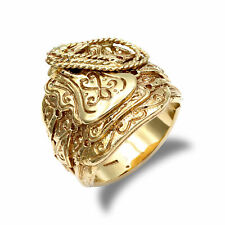 Jewelco London mens Solid 9ct Yellow Gold Horse Saddle Rope Ring