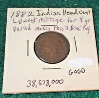 1882 Indian Head Cent Penny  Free 🚢 Shipping