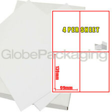 100 Sheets Of Printer Address Laser Labels 4 Per Sheet