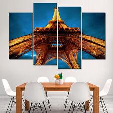 Landscape Canvas Print  Eiffel Tower Modern Gold Blue Paris Wall Art Decor 4Pcs