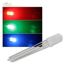 10 LED 5mm RGB Difuso, 4 pines controlable, Difuso de 3 chips RGBS 4-pin + zubeh