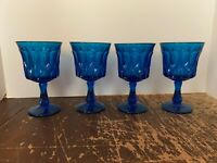 Vintage Mid Century Blue Glass Thumbprint Goblet Set Of 4
