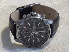 Men's Handsome SEIKO CHRONOGRAPH 7T62-0GZ0 Chronograph Leather Quartz Watch