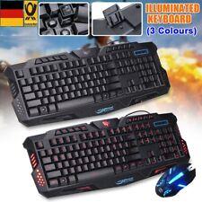 Deutsche Gaming Tastatur und Maus Set LED USB Wired Gamer PC QWERTZ Beleuchtet