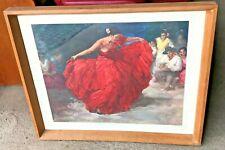 'The Red Skirt' by Francisco Rodriguez Sanchez Clement; flamenco dancer vintage