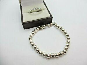 Lot of 2 Genuine .925 Sterling Silver items Bead Bracelet & CZ Eternity Band