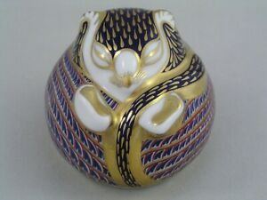 ROYAL CROWN DERBY BLUE SLEEPING DOORMOUSE PAPERWEIGHT, GOLD STOPPER.