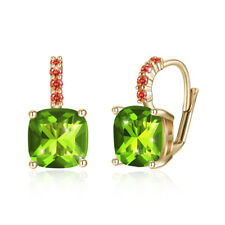 18K Gold Plated Clip-on Earrings Made with Green Swarovski Crystals