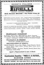 PUBBLICITA' PIRELLI PRODOTTI STABILIMENTI PIANTAGIONI GOMMA ARGENTINA 1930