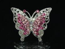 2 pc Sparkly Austrian light pink fuschia crystal silver Butterfly Brooch pin D26