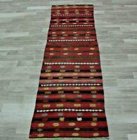 Stripe Design Turkish Kilim Runner Rug Anatolian Hand Knotted Wool Carpet 2x9ft.