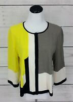 St John SoCa Collection Knit Top Black Gray Yellow Blouse Size L Button Front