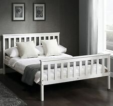 Double Bed Frame White Finish Solid Wood Beds Wooden Sleep Modern Home Furniture
