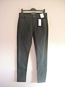 M&S Size 14 Long BLACK Stretch Cotton Denim Mid Rise Skinny Jeans NEW