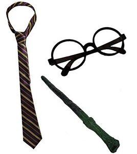 HARRY POTTER FANCY DRESS ACCESSORIES BRANCH WAND TIE WIZARD GLASSES