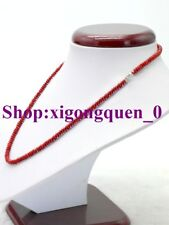 """Rondelle Beads Necklace 18""""Aaa 002 Fine 2x4mm Red Coral Gemstone"""