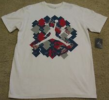 Nike Air Michael Jordan T Shirt White Blue Red Gray Shoes 11 NEW NWT men L Large
